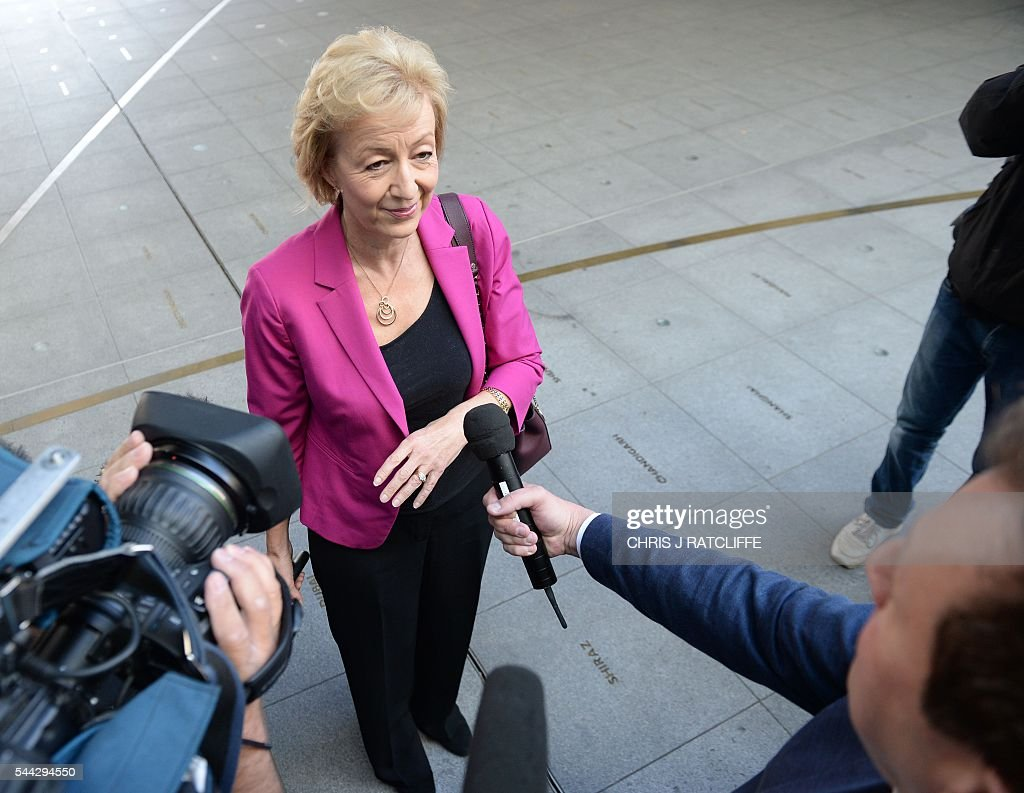 British Conservative party leadership candidate Andrea Leadsom speaks to members of the media as she arrives at the BBC television centre in London to appear on 'The Andrew Marr Show' in London on July 3, 2016. British media reported Saturday that energy minister and Brexit backer Angela Leadsom has become the favourite to face Theresa May on the ballot paper. / AFP / CHRIS