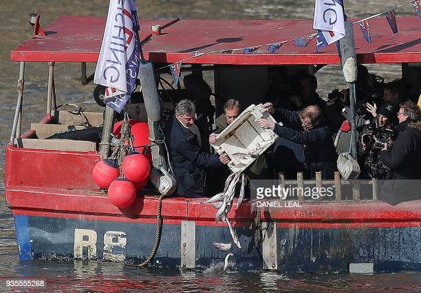 British conservative party member of parliament Jacob ReesMogg arrives to attend an event arranged by the proBrexit 'Fishing for Leave' group where...