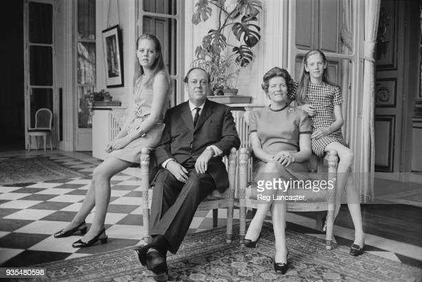 British Conservative Party politician and ambassador to France Christopher Soames with his wife Mary Soames and their daughters Emma and Charlotte...