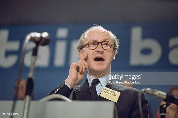 British Conservative Party politician and Chairman of the Conservative Party, Anthony Barber pictured delivering a speech at the Tory Party annual...