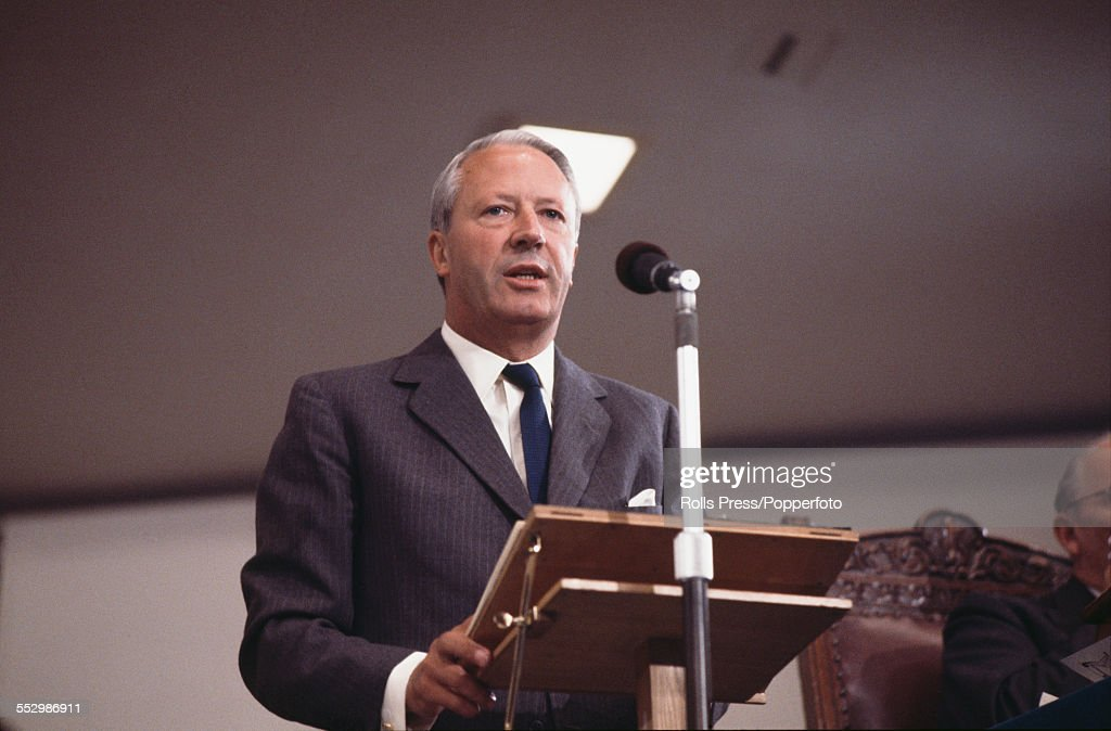 British Conservative Party politician and Leader of the Conservative Party, Edward Heath (1916-2005) pictured speaking from the podium at the Tory Party annual conference in Blackpool in October 1966.
