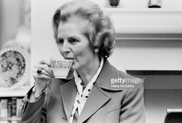 British Conservative Party politician and Leader of the Opposition Margaret Thatcher having a cup of tea, UK, 20th January 1978.