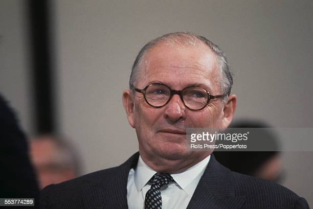 British Conservative Party politician and Member of Parliament for Wirral Selwyn Lloyd pictured sitting on the platform at the Conservative Party...