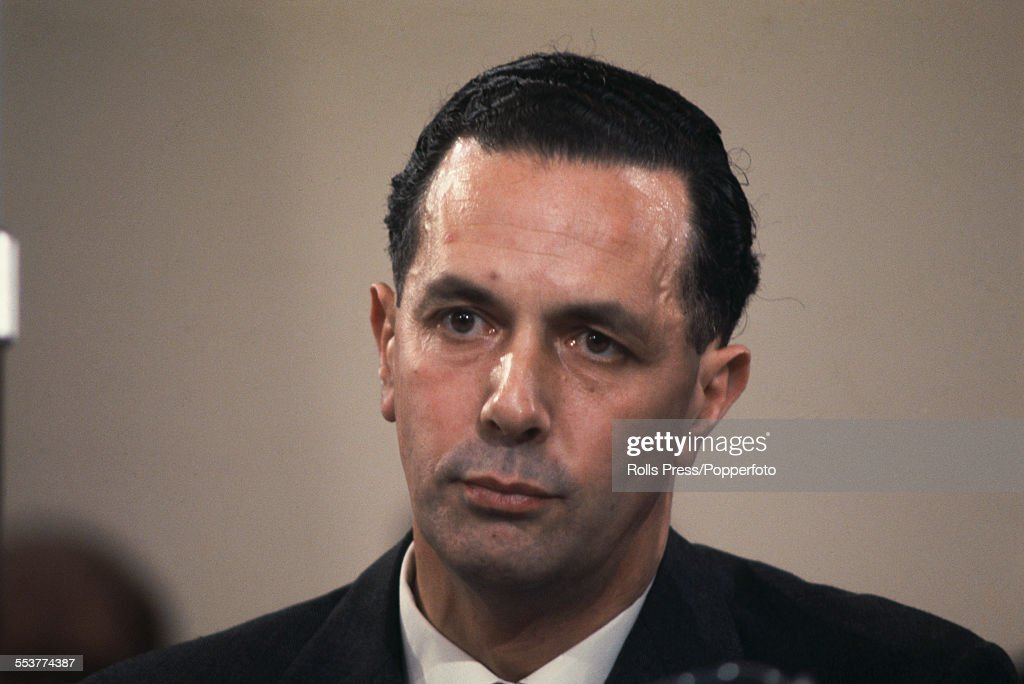 British Conservative Party politician and Member of Parliament for Leeds North East, Keith Joseph (1918-1994) pictured sitting on the platform at the Conservative Party annual conference in Blackpool in October 1966.