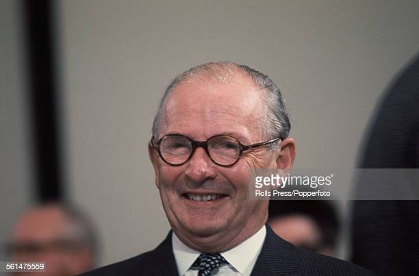 British Conservative Party politician and Member of Parliament for Wirrell Selwyn Lloyd observes proceedings from the platform at the Tory Party...