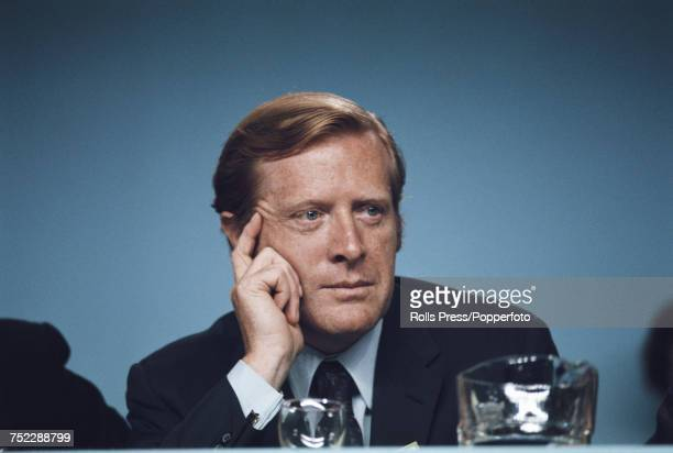 British Conservative Party politician and Member of Parliament for East Grinstead Geoffrey JohnsonSmith pictured attending the Conservative Party...