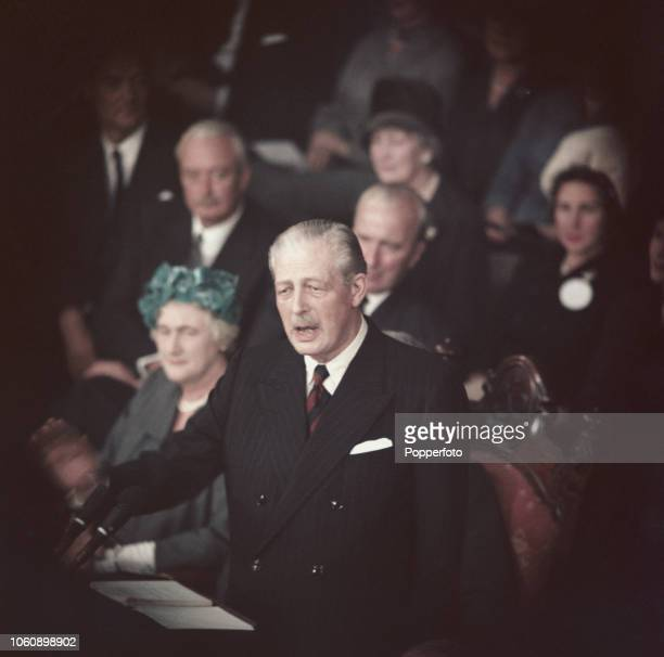 British Conservative Party politician and Prime Minister of the United Kingdom Harold Macmillan delivers the leader's speech from the platform at the...