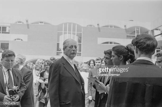 British Conservative Party politician and Prime Minister of the United Kingdom Harold Macmillan pictured meeting with students at the Falmer Campus...