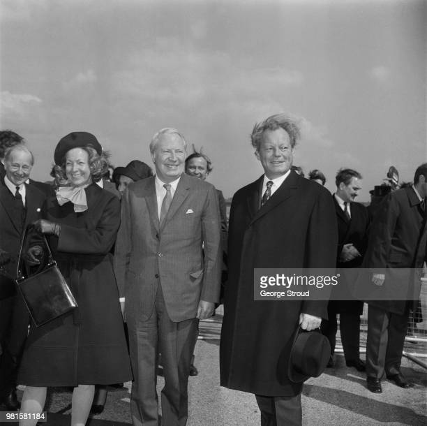 British Conservative Party politician and Prime Minister of the United Kingdom Edward Heath welcomes Chancellor of West Germany Willy Brandt to the...