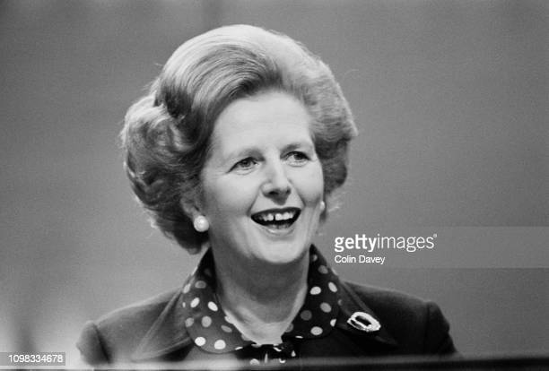 British Conservative Party politician and Prime Minsiter of the United Kingdom Margaret Thatcher at the Conservative Party Conference in Brighton,...