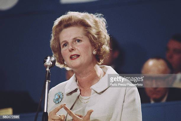 British Conservative Party politician and Shadow Secretary of State for Education and Science Margaret Thatcher speaks from the platform at the Tory...
