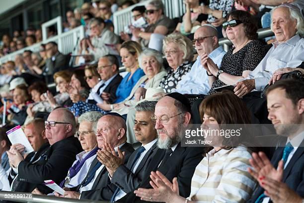 British Conservative Party politician Eric Pickles Holocaust survivor Ben Helfgott MBE London Mayor Sadiq Khan and Chief Rabbi Ephraim Mirvis applaud...