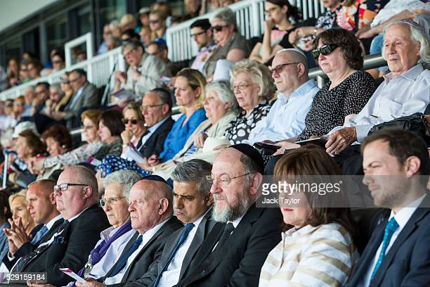 British Conservative Party politician Eric Pickles Holocaust survivor Ben Helfgott MBE London Mayor Sadiq Khan and Chief Rabbi Ephraim Mirvis sit...