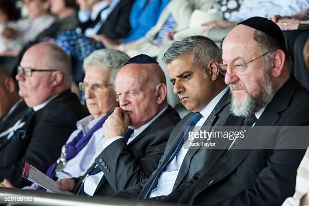 British Conservative Party politician Eric Pickles Holocaust survivor Ben Helfgott MBE London Mayor Sadiq Khan and Chief Rabbi Ephraim Mirvis attend...