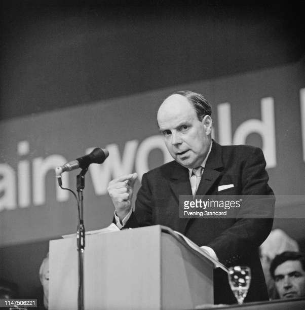 British Conservative Party politician Iain Macleod , Shadow Chancellor of the Exchequer, talking at the Conservative Party annual conference in...