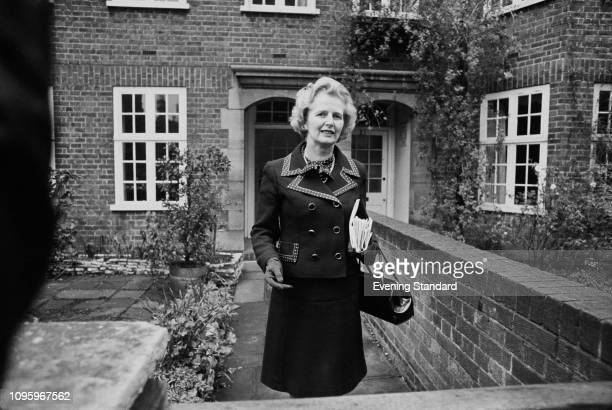 British Conservative Party politician Margaret Thatcher , Leader of the Opposition, leaving her house, UK, 14th February 1975.