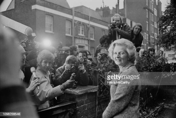 British Conservative Party politician Margaret Thatcher meets the press outside her house after being elected as Leader of the Conservative Party,...