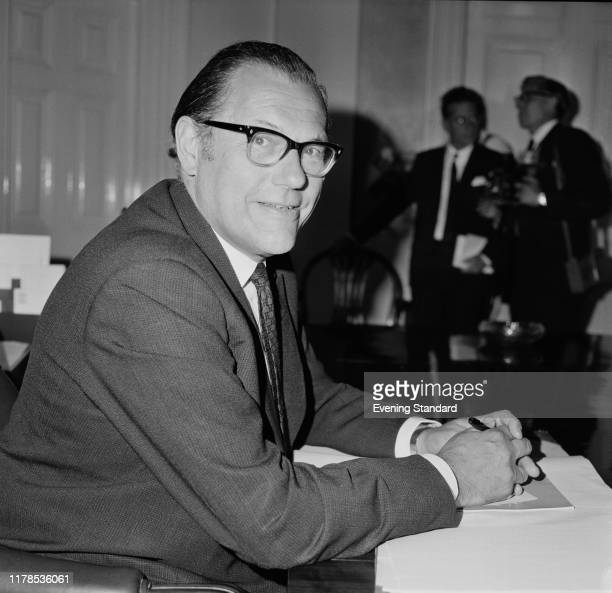 British Conservative Party politician Reginald Maudling the new Home Secretary sitting at a desk UK 2nd July 1970