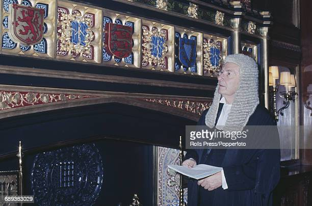 British Conservative Party politician Selwyn Lloyd pictured wearing a ceremonial wig and gown in the Palace of Westminster in London after being...
