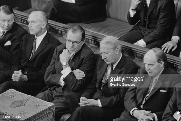 British Conservative Party politicians Francis Pym Alec DouglasHome Reginal Maulding Edward Heath Leader of the Conservative Party and Iain Macleod...