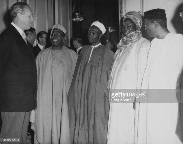 British Conservative politician Alan LennoxBoyd the Secretary of State for the Colonies chats with Nigerian premiers at the opening session of the...