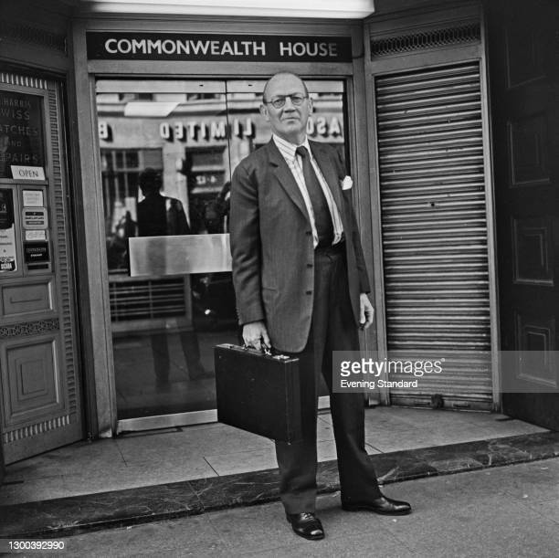 British Conservative politician and businessman Toby Low, 1st Baron Aldington , outside Commonwealth House in London, UK, 22nd August 1972.