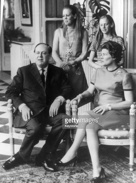 British Conservative politician and newlyappointed Ambassador to France Christopher Soames with his wife Mary and daughters Charlotte and Emma at the...
