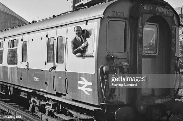 British Conservative politician Andrew Bowden, the MP for Brighton Kemptown, in the guard's cabin of a British Rail train, UK, 29th March 1973.
