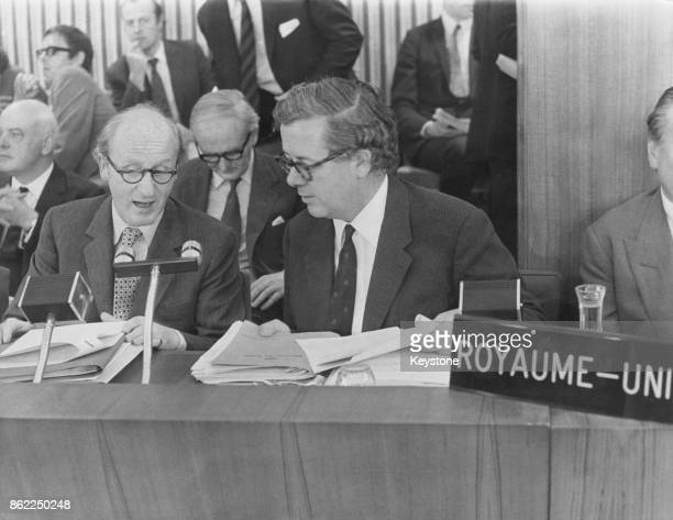 British Conservative politician Anthony Barber Chancellor of the Exchequer and Sir Geoffrey Howe the Minister of State for Trade attend the...