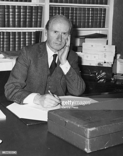 British Conservative politician Anthony Barber Chancellor of the Exchequer in his study at 11 Downing Street in London shortly before presenting his...