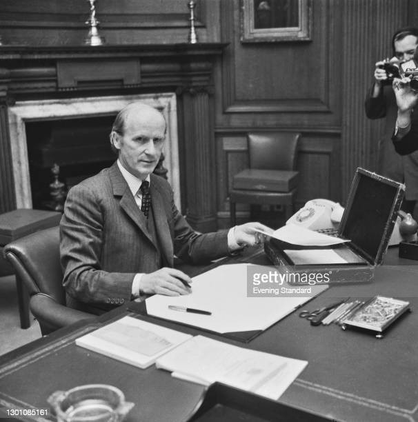 British Conservative politician Anthony Barber , Chancellor of the Exchequer, prepares the budget for that year, London, UK, 7th March 1973.