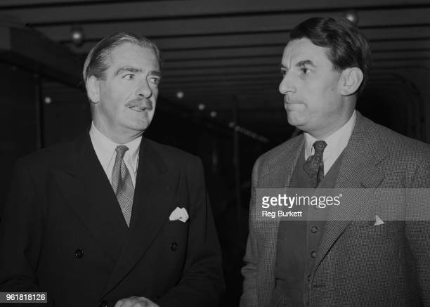 British Conservative politician Anthony Eden the Foreign Secretary with his Private Secretary Evelyn Shuckburgh head of the Western Organisation...