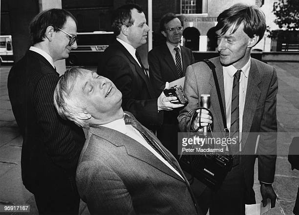 British Conservative politician Chris Patten the Secretary of State for the Environment during a radio interview outside the Department of the...
