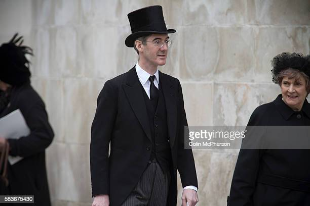British Conservative politician Jacob Rees-Mogg MP in a top hat departing St. Paul's following the funeral service for Margaret Thatcher. The funeral...