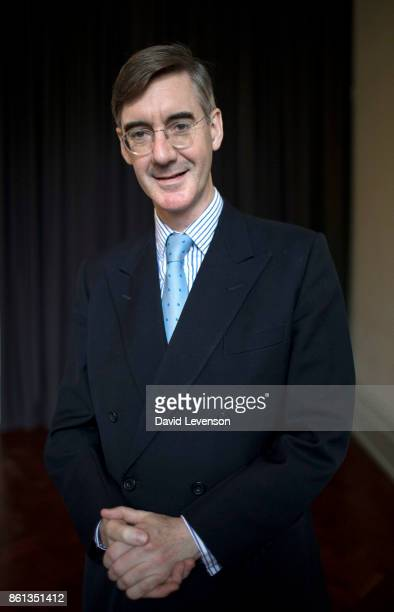 British Conservative politician Jacob ReesMogg poses during the Cheltenham Literature Festival on October 14 2017 in Cheltenham England