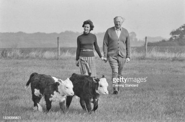 British Conservative politician Jim or James Prior walking with his wife Jane in the country in the run-up to the October general election, UK, 30th...