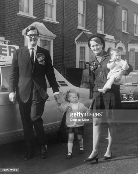 British Conservative politician Kenneth Baker the candidate for Acton out campaigning with his wife Mary and children Sophia and Amy at the last...