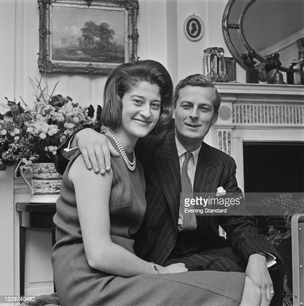British Conservative politician Michael Grylls and his fiancée Sarah 'Sally' Ford announce their engagement, UK, 24th November 1964. Their son,...
