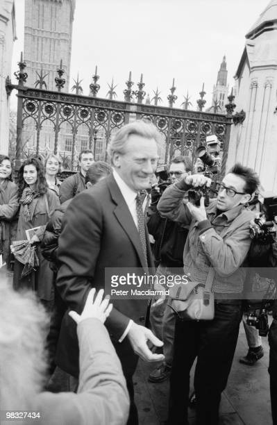 British Conservative politician Michael Heseltine surrounded by the press upon leaving the House of Commons in London 19th November 1990 He had...