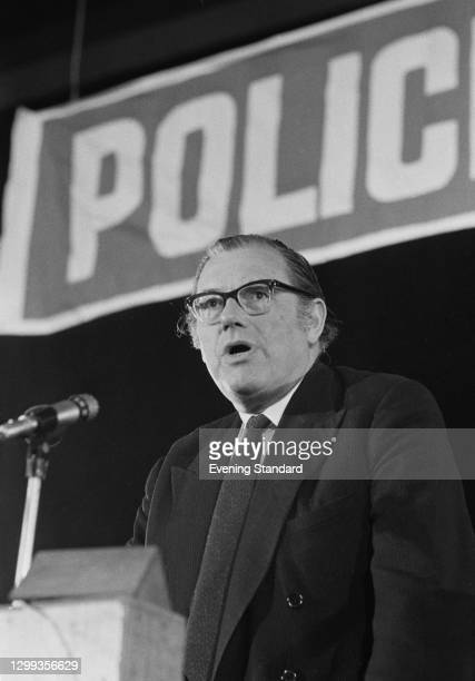 British Conservative politician Reginald Maudling , the Home Secretary, gives a speech on police issues, UK, 23rd May 1972.