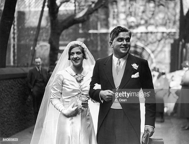 British Conservative politician Robert Boothby, Baron Boothby with Diana Cavendish after their wedding at the church of St Bartholomew-the-Great,...