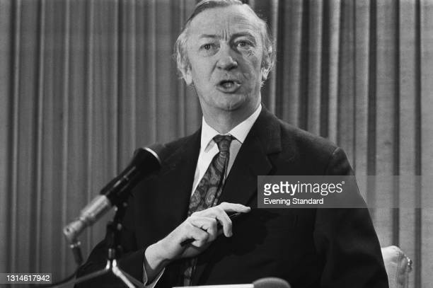 British Conservative politician Robert Carr , the Home Secretary, speaking at a press conference during the UK general election campaign, UK, 14th...