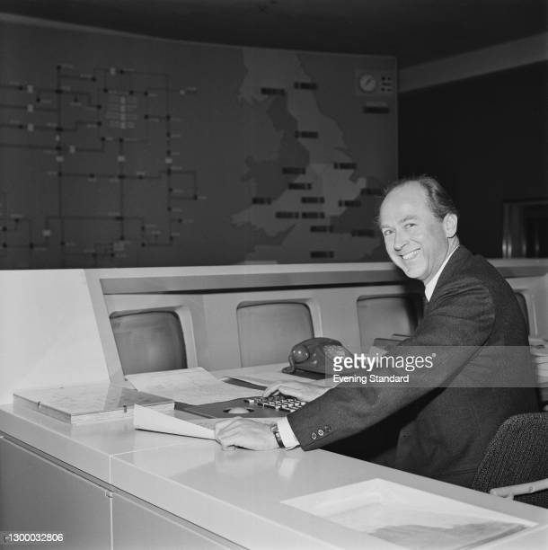 British Conservative politician Sir John Eden , the Minister of State for Industry, visits the National Control Centre of the Central Electricity...