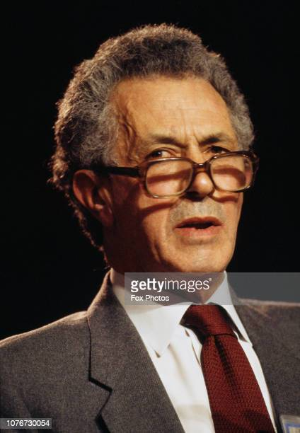 British Conservative politician Sir Keith Joseph at the Conservative Party Conference in Blackpool, UK, October 1985.