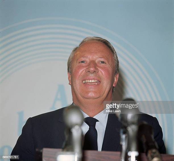 British Conservative Prime Minister Edward Heath at a press conference after his party's surprise victory in the UK general election on 18th June 1970