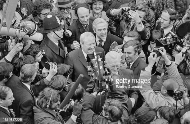 British Conservative Prime Minister Edward Heath during the UK general election campaign, UK, 19th February 1974.