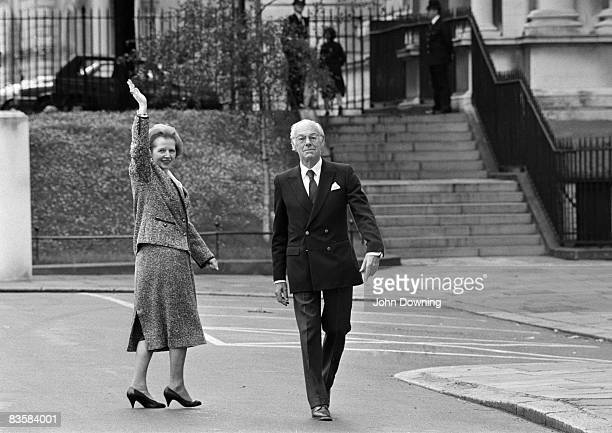 British Conservative prime minister Margaret Thatcher with her husband Denis in Westminster circa 1985