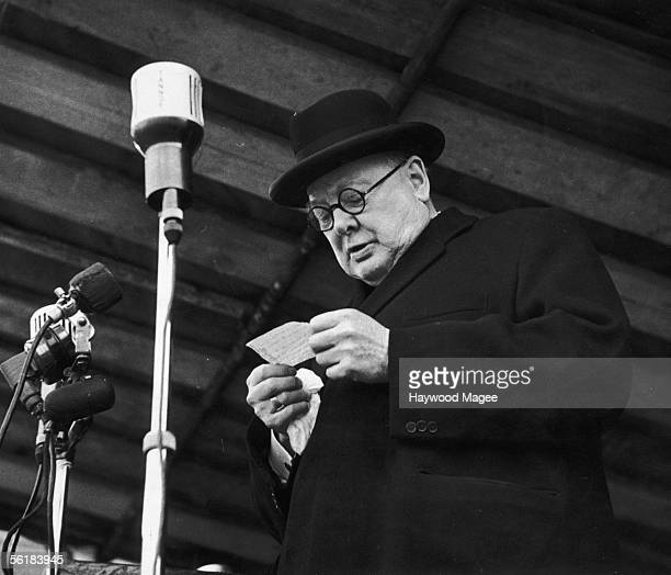 British Conservative prime minister Winston Churchill the MP for Woodford addresses a meeting in his constituency 4th October 1952 Original...