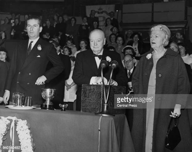 British Conservative statesman Winston Churchill , Grand Master of the Primrose League, addresses a rally at the Royal Albert Hall in London, May...