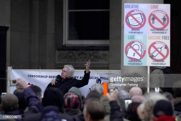 British conspiracy theorist, David Icke speaks during an anti-lockdown protest in Victoria Square on October 31, 2020 in Birmingham, United Kingdom....